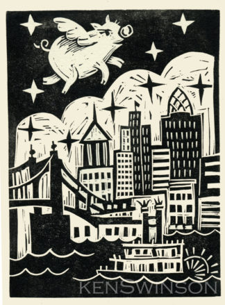 linocut print of a pig flying over Cincinnati ohio's skyline