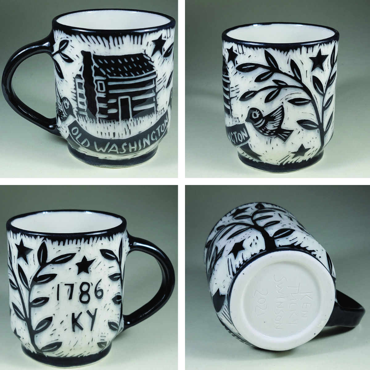 porcelain cup with black log cabin sgraffito design