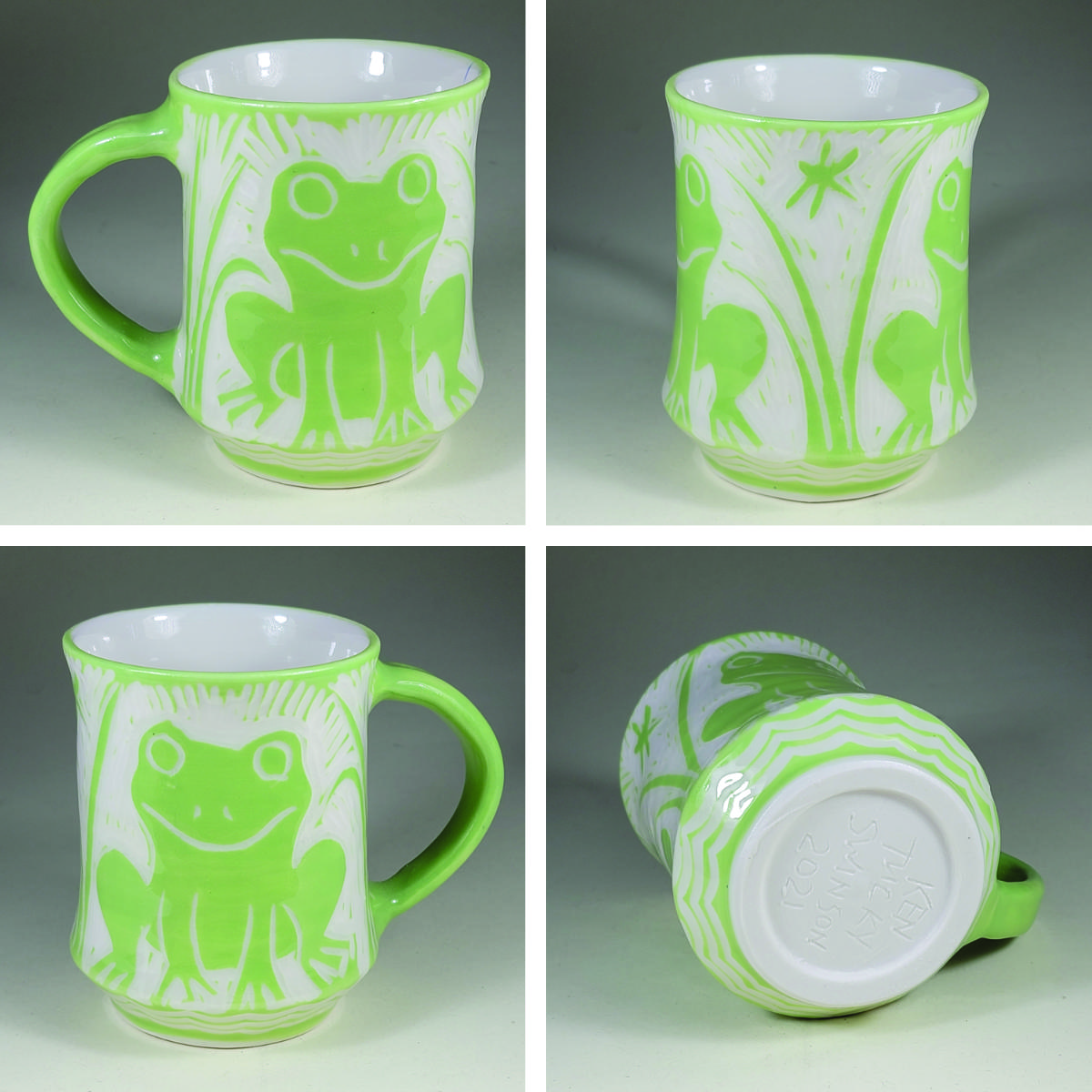 porcelain cup with green sgraffito frog decoration