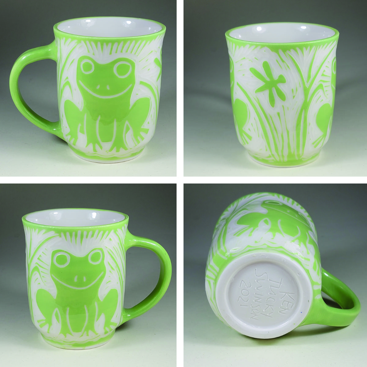 porcelain cup with green sgraffito frog design