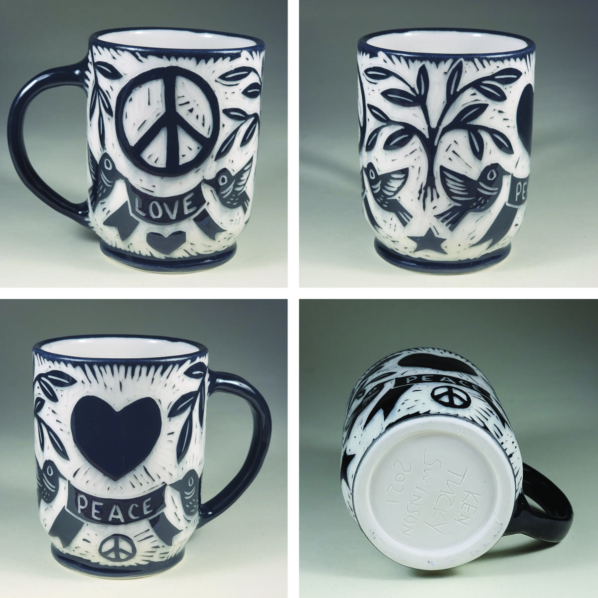 porcelain cup with peace and love sgraffito design