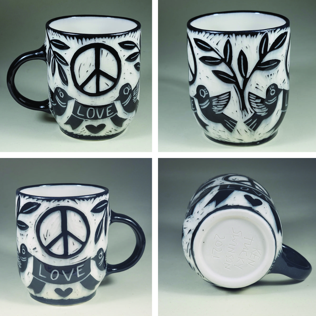 porcelain cup with peace love sgraffito design peace symbol