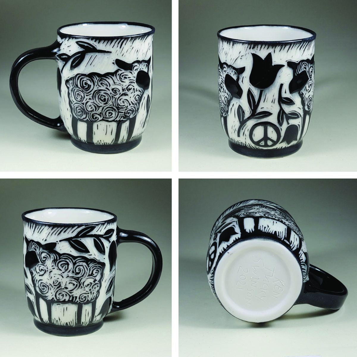 porcelain cup with sheeep sgraffito black design