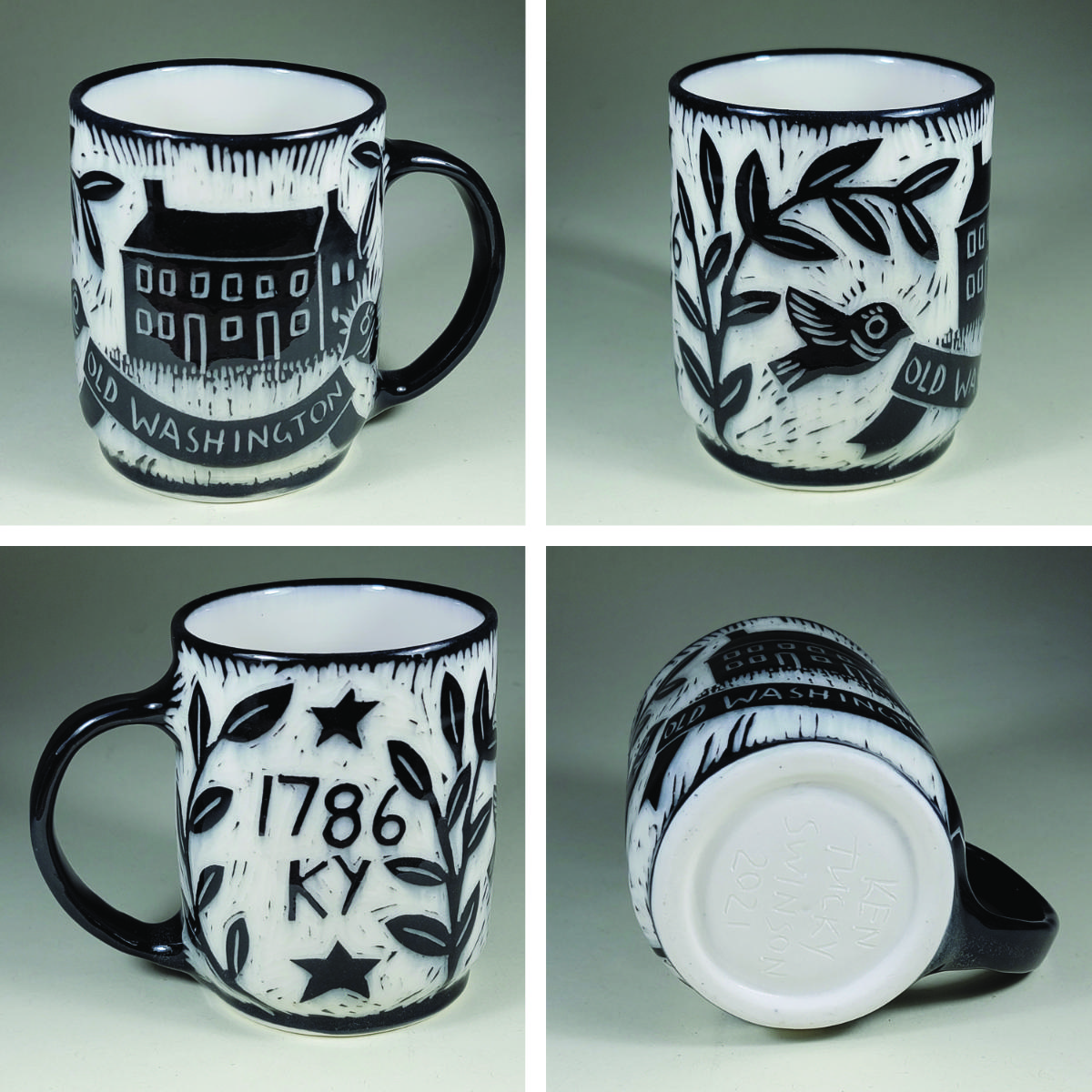 porcelain cup with black sgraffito design of washington hall, old washigton, ky 1796