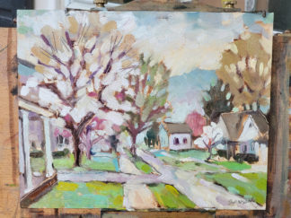 plein air oil painting of blooming trees in augusta, ky