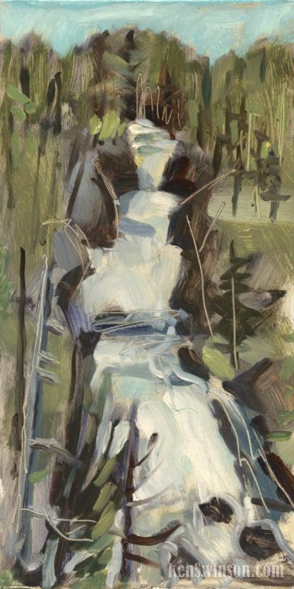 plein air painting of keplar cascades at yellowstone national park