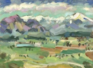colorful plein air painting of longs peak in denver colorado