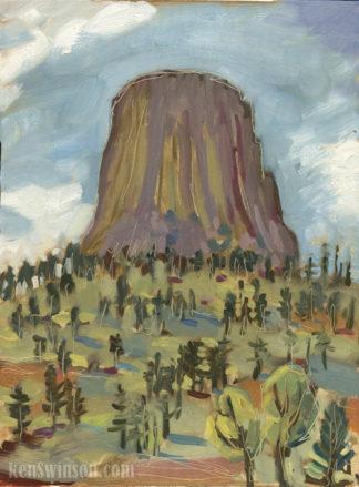 plein air painting of devils tower wyoming by kentucky artist ken swinson